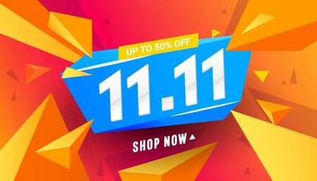 11.11 sale banner template design with triangular polygonal shapes on a red background for special offers, sales and discounts. Limited time offer