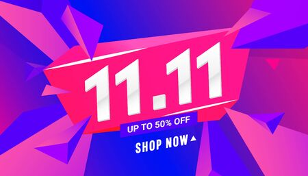 11.11 special offer sale banner with triangular polygonal shapes on a gradient background for special offer , sale and discount. Limited time offer Ilustração