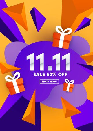 11.11 special offer liquid color web banner design with gift and triangular polygonal shapes on gradient orange background for special offer, sale and discount