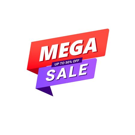Mega sale banner design template with speed gradient shape isolated on white background. Can be used posters, postcards, headlines, website. Ilustração