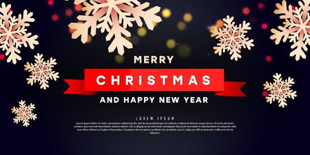 Creative banner template with three-dimensional forms of Christmas snowflakes and text on a dark background for special offers, sales and discounts. Promotion and shopping poster