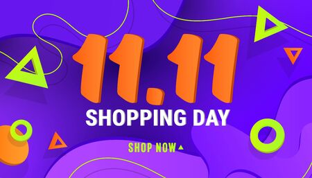 11.11 shopping day sale banner background with polygonal gradient shapes on blue background for posters, cards, headers, website.