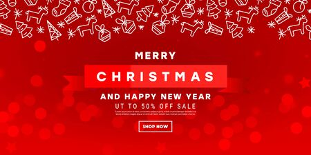 Merry Christmas card with a Christmas pattern on a red background with a blur. Vector illustration