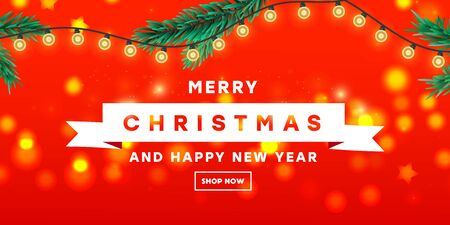 Merry Christmas and Happy New Year design template banner with branch fir tree, stars and paper cut snowflakes on a red background using for web banner, poster
