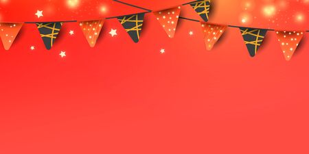 Christmas or New Year decorative elements for banner decoration on red background. Red garland flags and glitter confetti with place for text.
