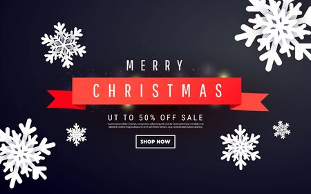 Creative banner template with three-dimensional forms of Christmas snowflakes and text on a dark background for special offers, sales and discounts.