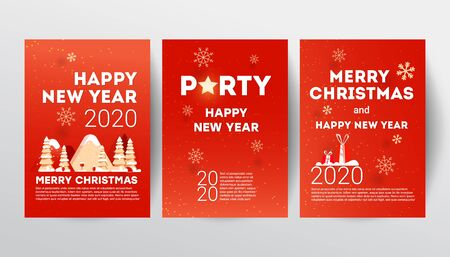 Merry Christmas party invitation poster template set with mountains, spruce trees, gifts and calligraphy text on a red background