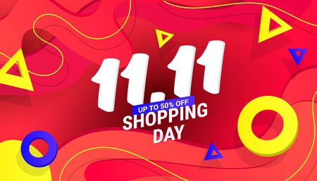 11.11 Shopping day sale design banner with plastic liquid gradient wave and triangular gradient volumetric shapes for covers, greeting card, poster or flyers.