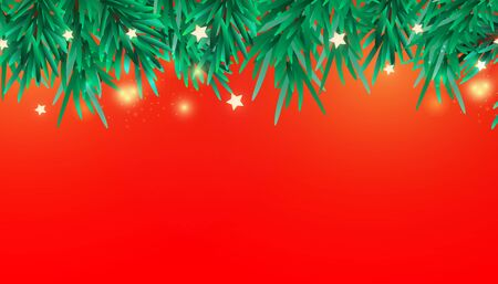 New Year or Christmas tree branches decorative elements. Xmas border of green branch of pine.