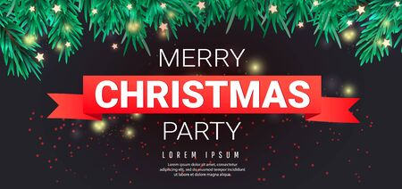 Merry christmas party template with christmas snowflakes, fir branches, stars and red ribbon with text on a dark background for special offers, sales and discounts.