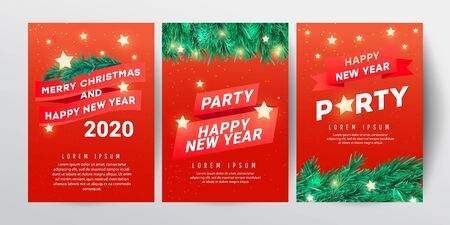 Winter sale vector poster or banner set with discount text and Christmas tree branches, stars on a red background for poster, greeting cards, headers, website