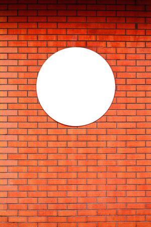 Signboard store layout  circle design template on red brick wall. Public information board on old red brick wall