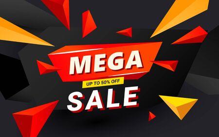 Mega sale banner template header design design template with polygonal sharp shapes for social media resources Ilustração