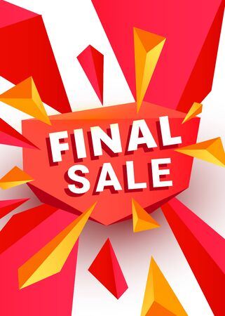 Final sale banner template header design design template with polygonal sharp shapes. Can be used for wallpaper, template, poster, backdrop, book cover, brochure, leaflet, flyer, vector illustration