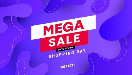 Creative mega sale discount banner template with wave liquid shape, line shapes on gradient lilac background. Ilustração