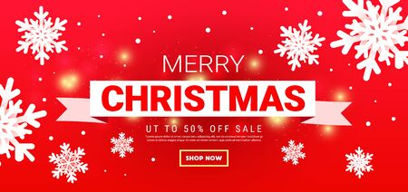 Merry christmas banner with snow on red background. Xmas template card, poster, banner New year happy season design Ilustração