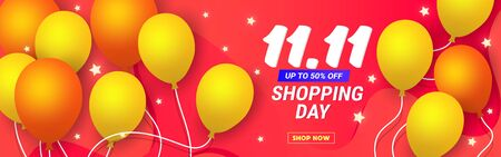 11.11 discount banner template poster with balloons and stars on a coral background with place for text. Can be used for wallpaper, template, poster, backdrop, book cover, brochure, leaflet, flyer, vector illustration