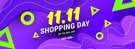 1.11 sale discount banner template with wave liquid shape, geometric polygonal shapes on gradient background. Ilustração