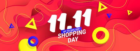 Creative 11.11 sale discount banner template with wave liquid shape, geometric gradient shapes on red background Ilustração