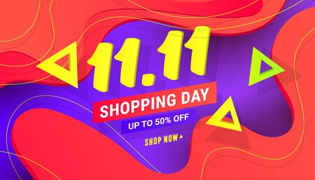 Creative 11.11 sale discount banner template with wave liquid shape, geometric polygonal shapes on gradient lilac red background. Ilustração