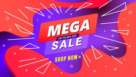Creative mega sale discount banner template with wave liquid shape, line shapes on gradient red background.