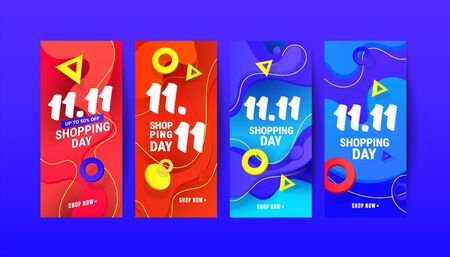Trendy liquid wave gradient design element banners for social networks stories, vector illustration.