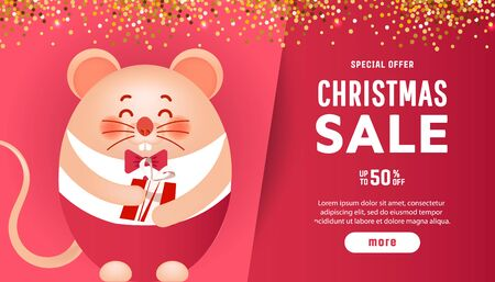 Merry christmas banner cute little mouse and gift vector illustration for Christmas posters, cards, gift tags.