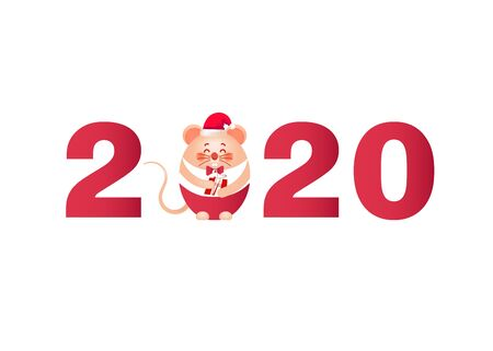merry christmas and happy new year 2020 banner cute little mouse and gift vector illustration for Christmas posters, cards, gift tags.