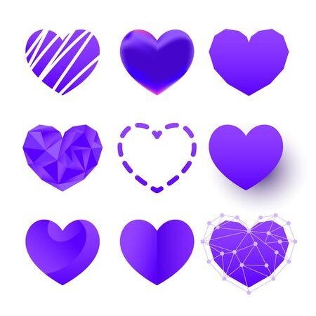 Vector logo icon set of polygonal, flat, paper cut color hearts or sign of love on white background Ilustração