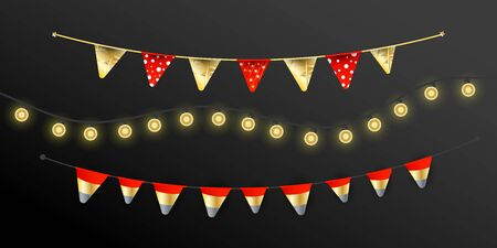 Carnival Christmas garland with flags garlands, lights realistic design lamps elements on a dark background for birthday celebration, festival and fair decoration.