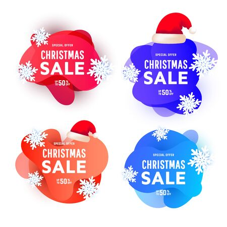 Multicolor gradient fluid shapes element boxes with trendy gradient shape wawe, snowflake and red santa hat with place for congratulation text on a white background. Christmas sale banners set