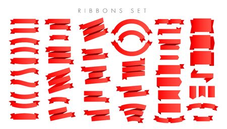 Modern new gradient red ribbons set isolated on white background. Can be used to decorate web banner, postcard, poster or info graphic. Ilustração