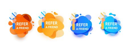 Referral program inviting a friend. Banner set of gradient color wave liquid shape with megaphone on a white background.