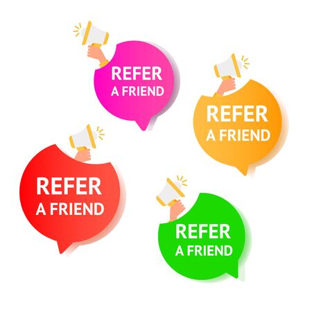 Referral program inviting a friend. Air gradient message bubbles with referral program text and microphone on a white background.
