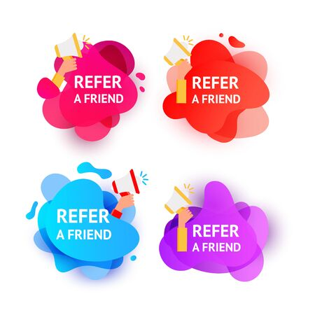 gradient color wave liquid shape bubbles with Refer a Friend message. Referral program inviting