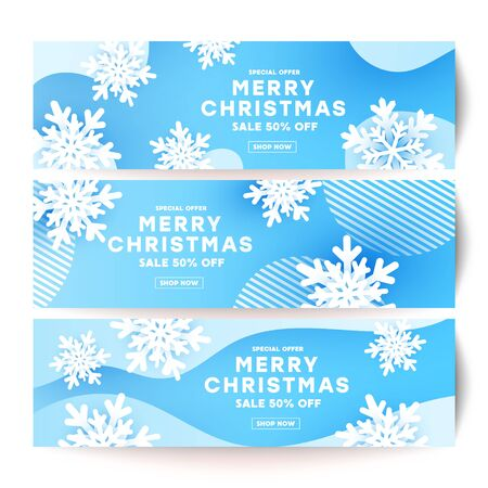 Minimalism Merry Christmas banner set with white snowflake and shadow shape decor on a blue plain background with place for your text.