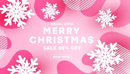 Merry Christmas banner with white snowflake shape decor and fluid liquid wave shape on pink background with place for your text.