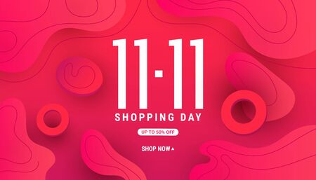 11.11 modern fluid liquid wave shape banner with gradient shape and shadow decor for special offer, sale and discount. Limited time offer