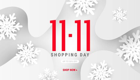 Winter 11.11 fluid liquid wave shape banner with white decor shape snowflakes and shadows on a gray background