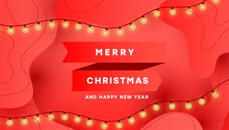 Christmas card with light garland, red gradient ribbon and the inscription, decorated with red liquid fluid shapes. Minimalistic banner design.