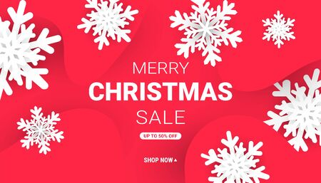 Merry Christmas web banner with minimalistic paper cut snowflakes and liquid gradient shapes on a red background with place for text.