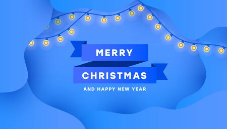 Merry Christmas and Happy New Year poster card with minimalistic blue ribbon and garland on blue background for text for any web banner, poster and postcard.