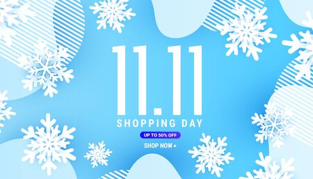 Winter 11.11 liquid liquid wave banner form with white snowflake and shadow shape decor on a blue plain background with place for your text Ilustração