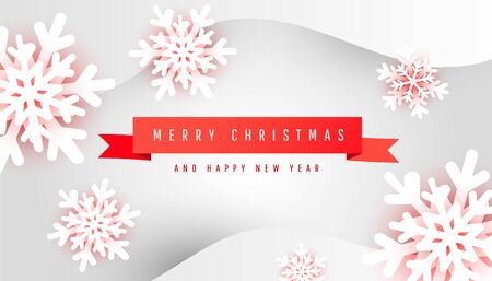 Merry Christmas and Happy New Year poster card with minimalistic red ribbon and paper cut snowflakes on gray background with place for text. Banner design.