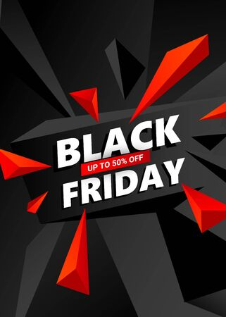 Black Friday Sale Background. Creative vector banner with triangles design element effect for shops, web.