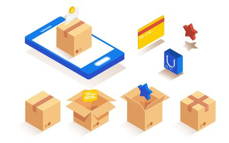 Isometric packaging paper boxes set for packaging of goods. Parcel delivery stages set.  イラスト・ベクター素材