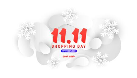 11.11 day winter sale banner template with gradient light shapes and paper cut snowflakes on a white background with place for your text