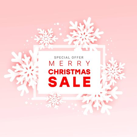 Merry Christmas sale banner with paper cut style snowflakes and advertising text with a frame on a gently pink background. Vector illustration greeting cards. Minimal style