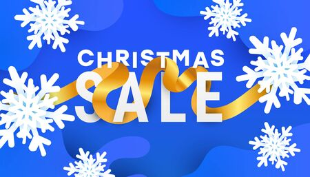 Christmas, new year, winter sale banner with 3d air snowflakes, gold ribbon and sale text on a blue background. Horizontal poster, header website, card, voucher