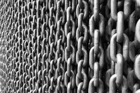 Black and white picture wall of large anchor chains Reklamní fotografie